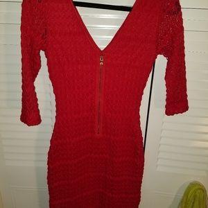 Short red dress.